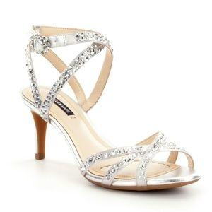 Silver Satin Rhinestone Detail Dress Sandals